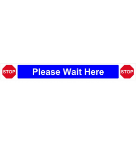 Please wait here Self Adhesive Sign, Blue - (800 x 100mm)