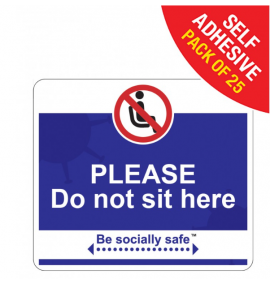 Please do not sit here Social Distancing - SAV 25pk, Blue (190 x 166mm)
