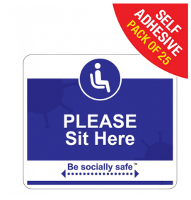Please sit here Social Distancing - SAV 25pk, Blue (190 x 166mm)