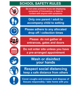 School safety rules Keep safe distance - RPVC - (300 x 400mm)