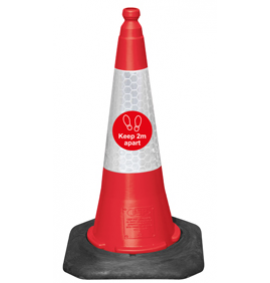 75cm Dominator™ Traffic Cone - Keep 2m Apart - Red