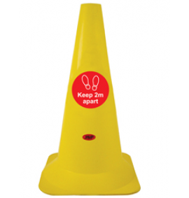 Social Distancing - Yellow 50cm Hazard Cone