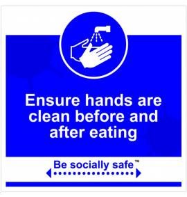 Clean hands before eating sign, Blue - RPVC - (400 x 400mm)