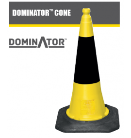 75cm Dominator™ Traffic Cone - Yellow with Black Sleeve