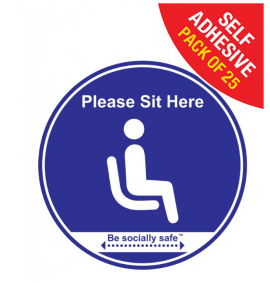 Please sit here Social Distancing - SAV 25pk, Blue (190mm dia.)